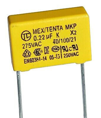 [2pcs] 0.22uF 275v, 220nF, TENTA X2 MEX Safety Capacitor, pitch 15mm –ref:677a