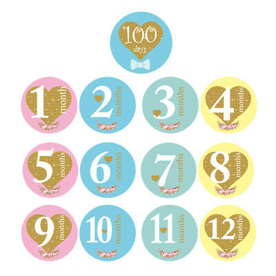 13pcs Baby Pregnant Women Monthly Photograph Stickers Month 1-12 Milestone Props