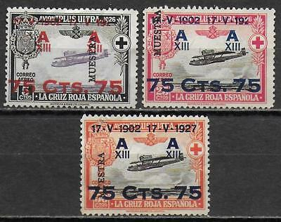 Spain stamps 1927 YV AIRMAIL 27+29-30 ovpt MUESTRA UNG VF