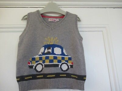 3-4 yrs: Cute knitted tank top: Grey + police car: Designer, Cath Kidston