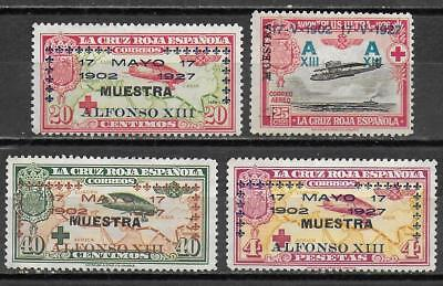 Spain stamps 1927 YV AIRMAIL 20+21+23+26 ovpt MUESTRA UNG VF