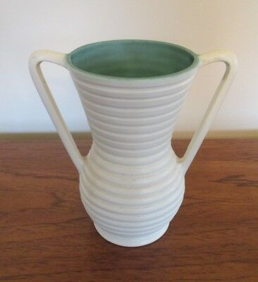 """Vtg Coors Pottery Colorado Ringware Vase 2 Handle Matte White Turquoise 8"""" Tall"""