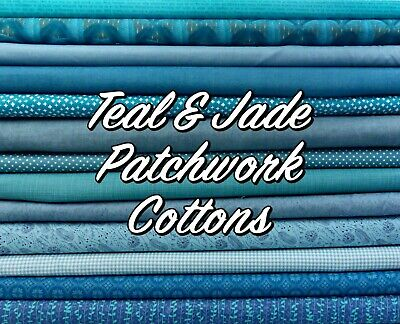 Jade TEAL Mixed Patterned Floral + Themed 100% Cotton Patchwork Fabric