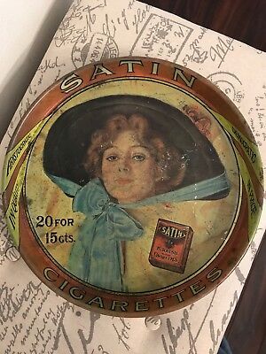 Satin Turkish Blend Cigarettes Serving Tray Vintage Advertising 13 Inches