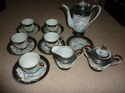 Vintage Japanese Dragon Tea Set Hand Painted Gold Trim Geisha Image