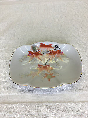 Vintage Hand Painted Porcelain Soap Dish Vanity Tray Leaf Design Gold trim