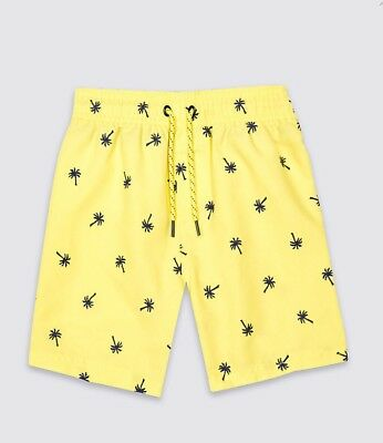 Baby Boys M&s Sizes 6-9 9-12 12-18 Months Yellow Palm Tree Swim Shorts Trunks