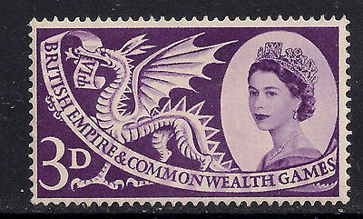 GB 1958 QE2  3d Commonwealth Games LILAC MM STAMP SG 567.( B682 )