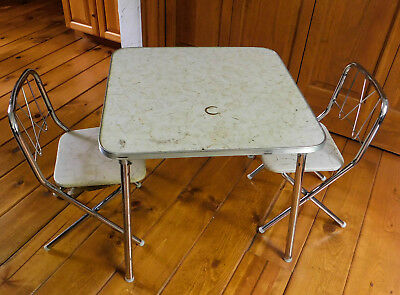 Vintage 1950s Childrens Kids Folding Table Chairs Formica Chrome