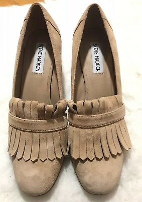 0a8e733b31b Steve Madden Kate Slip-On Suede Smoking Loafer Heels Women s Size 8.5 Nude
