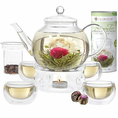 Teabloom Blooming Tea Set - Stovetop Safe Glass Teapot with 12 Flowering Teas,