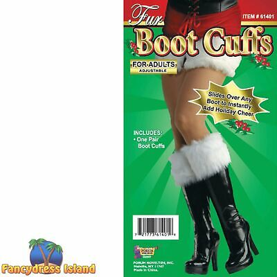 CHRISTMAS MRS CLAUS FUR BOOT CUFFS Womens Ladies Fancy Dress Costume Accessory
