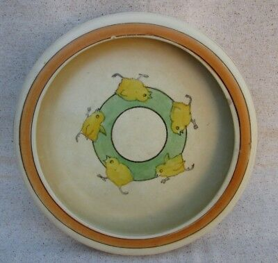 Antique Roseville Pottery Child Juvenile Youth Dish Bowl Chicks Running