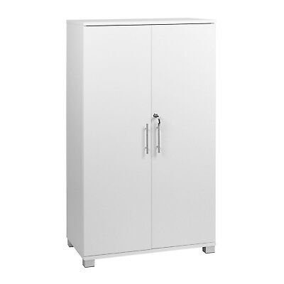 MMT White Storage Cupboard 2 Door Locking Bookcase Shelving Filing Cabinet