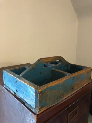 Antique WOOD FOLK aRT TOTE CARRIER old BLUE PAINT primitive Worn hand Made EARLY