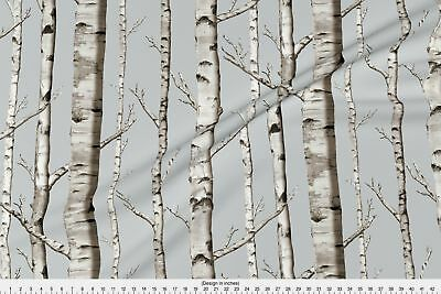 Whitestone Birch Birch Forest Trees Rustic Fabric Printed by Spoonflower BTY