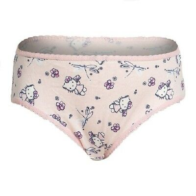 Girls Hello Kitty Pink Elasticated Waist Cotton Crochet trims Knickers Pants
