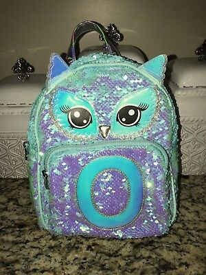 Justice Owl Flip Sequin Initial Mini Backpack Initial O Excellent Condition