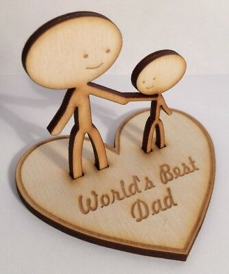 Father's Day Son 'World's Best Dad/Grandad' - wooden personalised gift