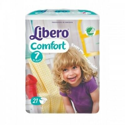 UNOPENED 21 Package of Libero Comfort Size 7 Imported Baby Diapers