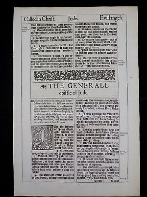 1611 King James Bible Leaf Page * Book Of Jude Title Page * Near Fine *