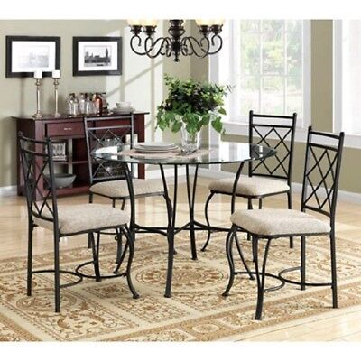 Dining Room Set 5 Piece Dinette Table And Chairs Seats 4 Compact Metal Glass Top
