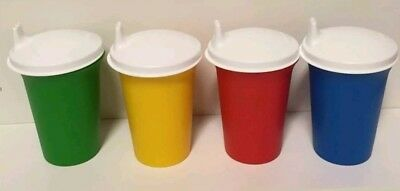 NEW Tupperware PRIMARY COLOR BELL TUMBLERS AND DOMED SIPPY LIDS - BPA Free