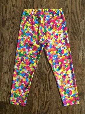 Zara Terez Girls Rainbow Multicolor STARS Cropped Leggings size XL