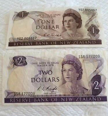 Old Money Currency New Zealand One And Two Dollar Notes
