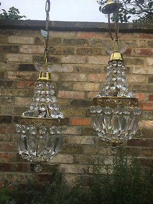 Pair Of Sparkling  Vintage Crystal Empire Style Chandeliers Rewired Tested