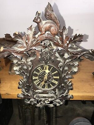 Antique German Cuckoo Clock With Exceptional Carving