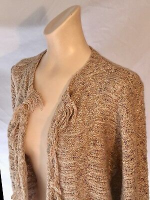 Nwt 89th Madison Oatmeal Heather Open Front Long Cardigan Sweater