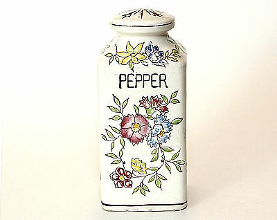 Pepper Shaker, Vintage, Floral Pattern, Made in Japan, 1940's, Ivory, Red VGC