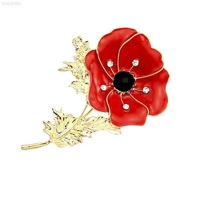 D13A New Large Red Enamel Black Crystal Poppy Gold Plated Metal Pin Brooch Badge
