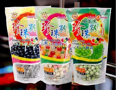 3-Pack Variety Tapioca Pearls Boba Bubble Tea WuFuYuan Brand Quick Cook 8.8 Oz
