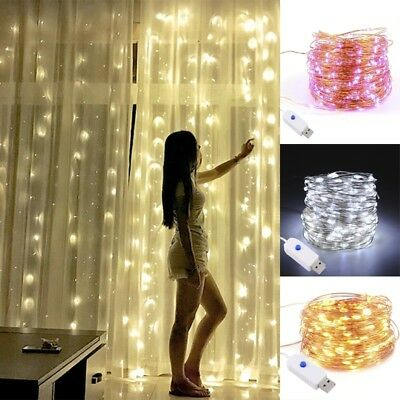 Christmas Party USB LED Copper Wire String Fairy Light Strip Lamp Waterproof 10M