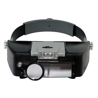 Magnifying Glass Lens LED Light Lamp Visor Head Loupe Jeweler Headband Magnifier
