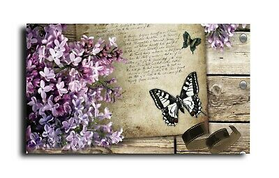 Butterfly Flower Canvas Print Wall Art Picture  18 X 32 Inch