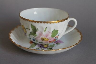 Nymphenburg Welle Blume Blumen 1012 Teetasse Tasse 2-tlg. Goldrand #17