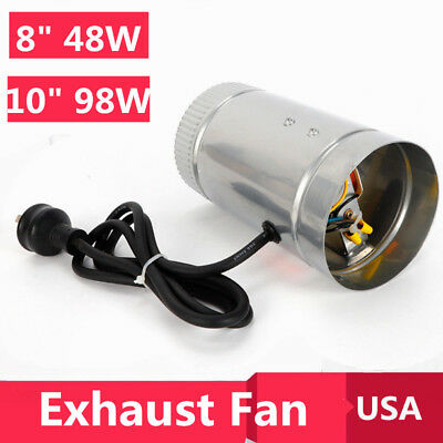 """Powerful 8"""" 10"""" Inch Booster Fan Inline Grow Room Blower Exhaust Ducting Cooling"""