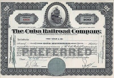 The Quba Railroad Company, New Jersey, 1957 (100 Shares Preferred)