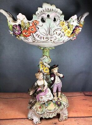 Dresden Centerpiece Bowl Compote Figural Boy Girl Donkey As-is Carl Thieme