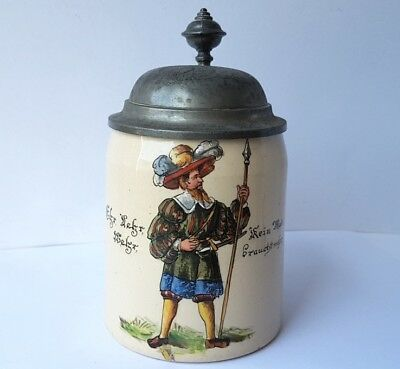 Mug/Beer Mug with Saying Ceramics Tin Outfit Hand Painted Mettlach?um 1900 AL835