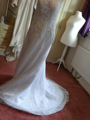 Stunning White NWT Wedding dress,applique,sequins,,open back,L/up,14