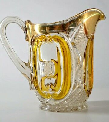 Early American Glass Pitcher / Jug Amber Inlays, Hexagram Motif, Gold - EAPG