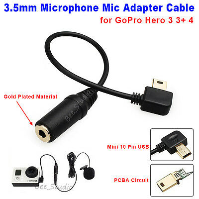 Black 10 Pin USB 3.5mm Microphone Adapter Cable for GoPro Hero 3 3+ 4 Camera New