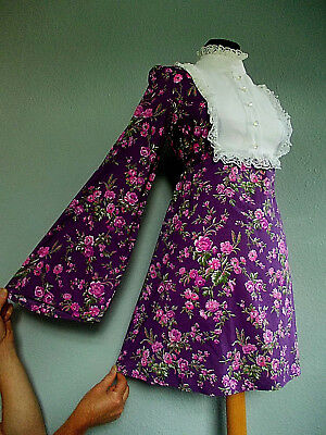 Vintage 60's Size 8, 10 Mod PSYCH Scooter VICTORIANA Floral EMPIRE Dress 8, 10