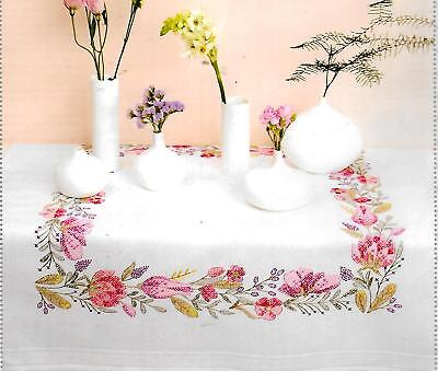 """FLORAL WREATH"" tablecloth KIT to CROSS STITCH.Stamped 80cm 100% cotton!SALE"