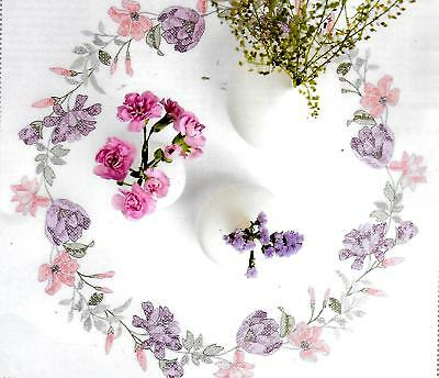 """FLORAL WREATH"" tablecloth KIT to CROSS STITCH.Stamped 80cm 100% cotton! SALE"