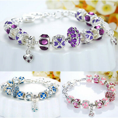 European Rhinestone Charm Bracelet Silver Plated Chain Love Heart Purple Gift